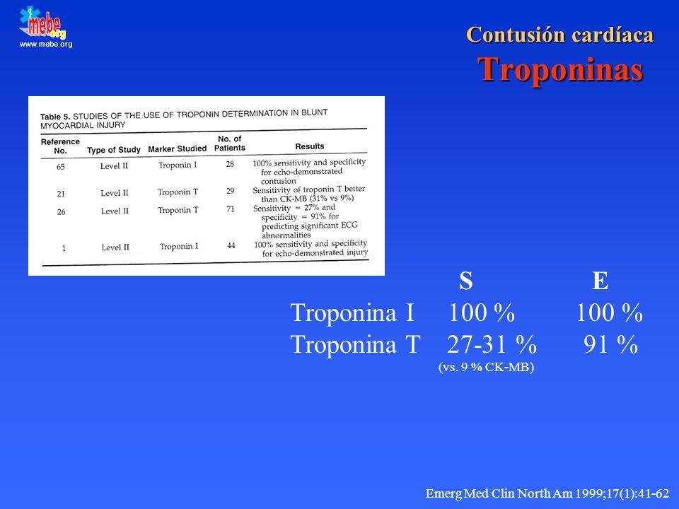 Contusión cardíaca Troponinas