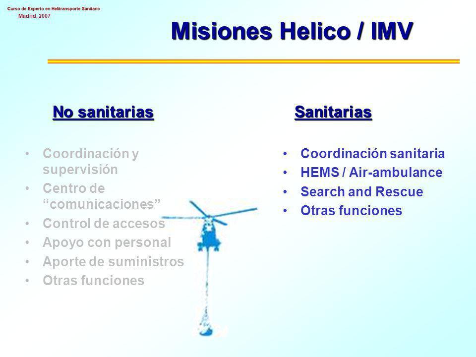 Misiones Helico / IMV No sanitarias Sanitarias
