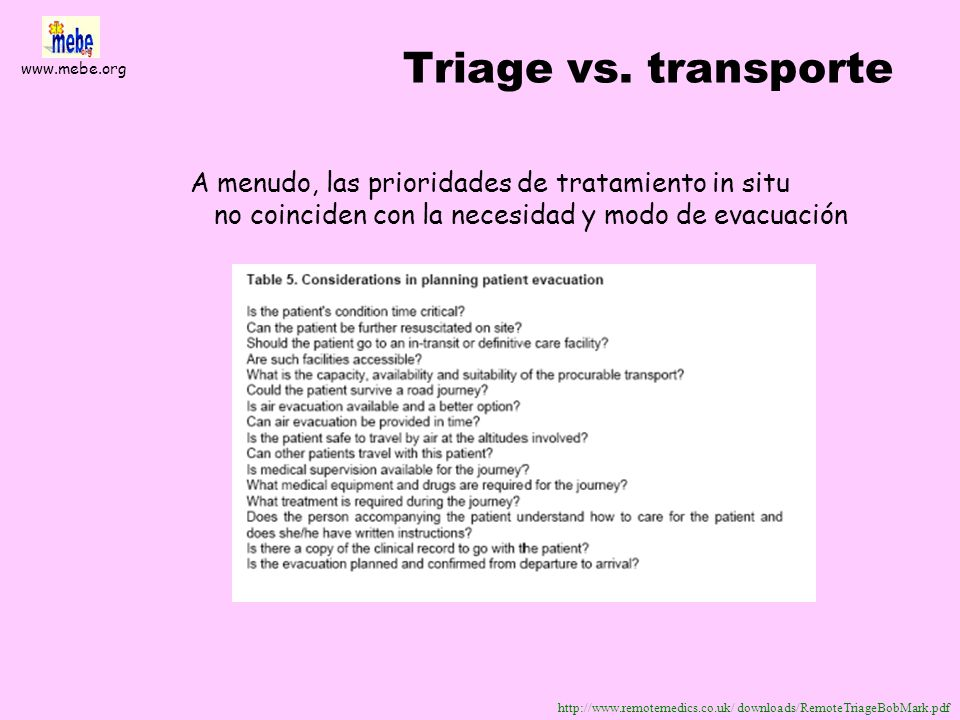 Triage vs. transporte A menudo, las prioridades de tratamiento in situ