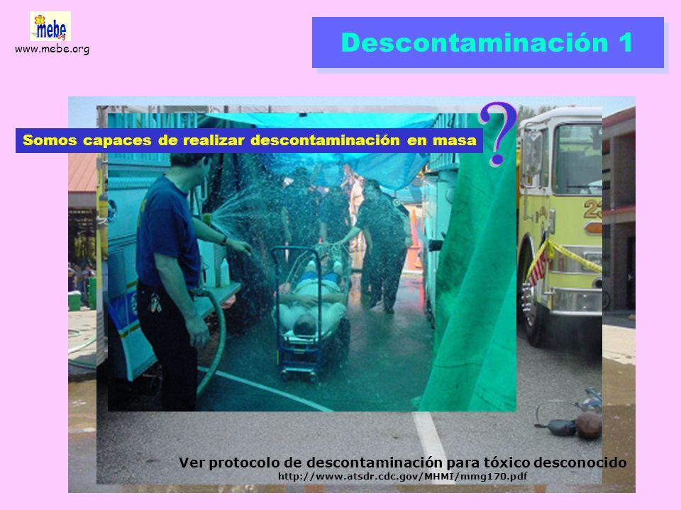 Ver protocolo de descontaminación para tóxico desconocido