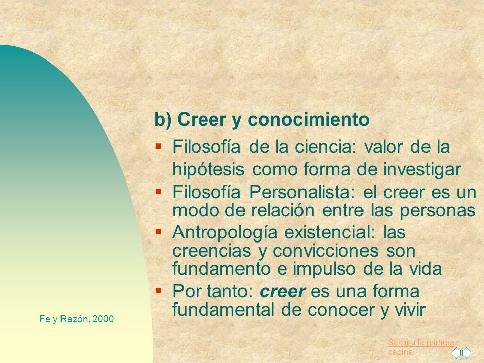 b) Creer y conocimiento
