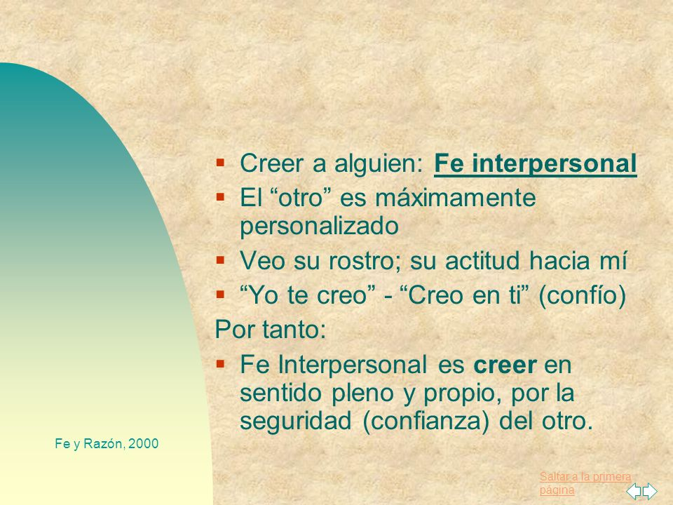 Creer a alguien: Fe interpersonal