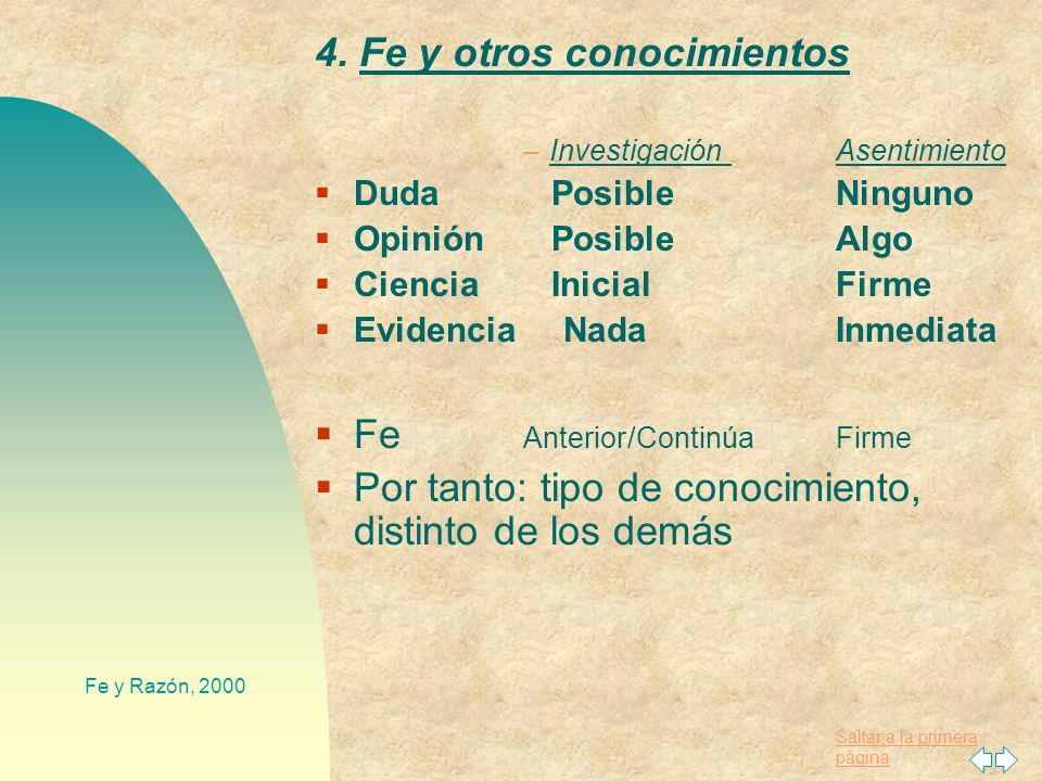 4. Fe y otros conocimientos