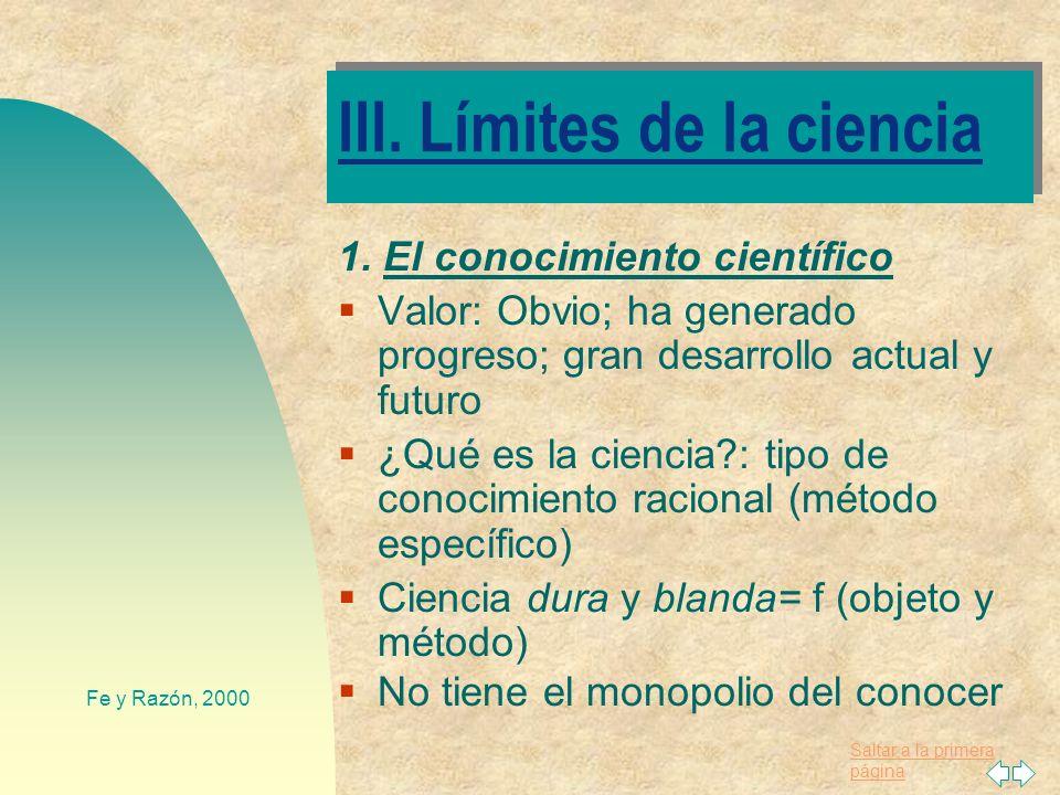 III. Límites de la ciencia