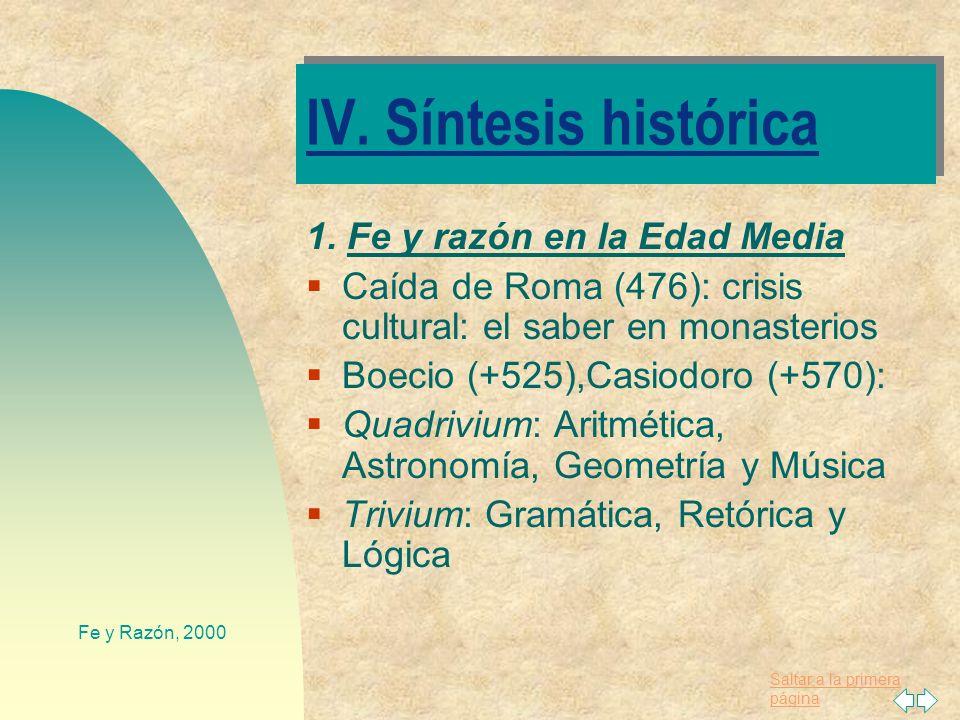 IV. Síntesis histórica 1. Fe y razón en la Edad Media