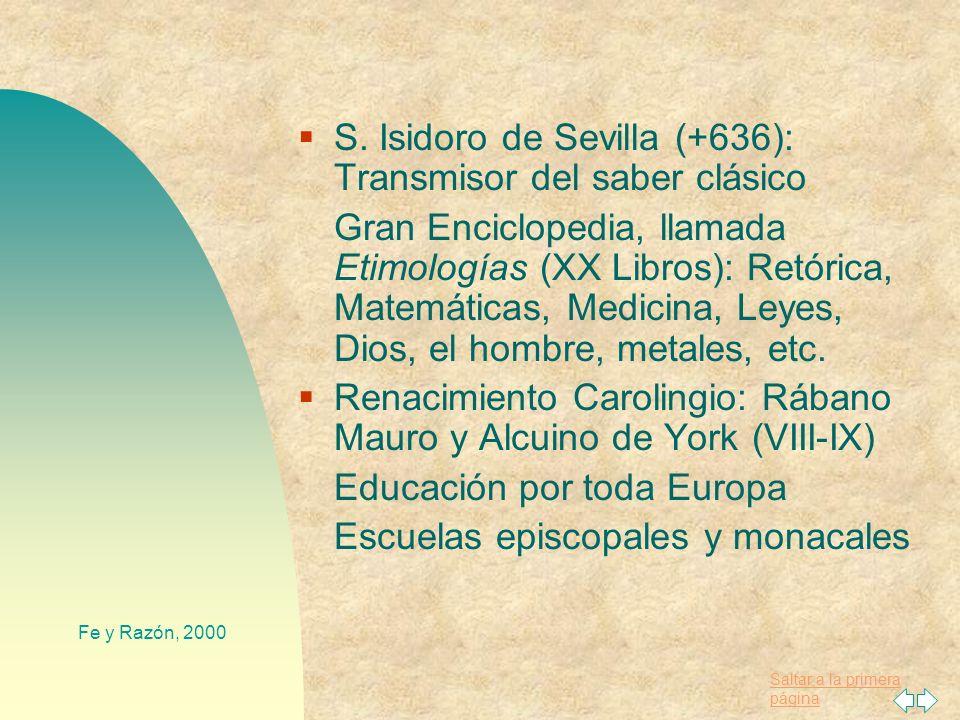S. Isidoro de Sevilla (+636): Transmisor del saber clásico
