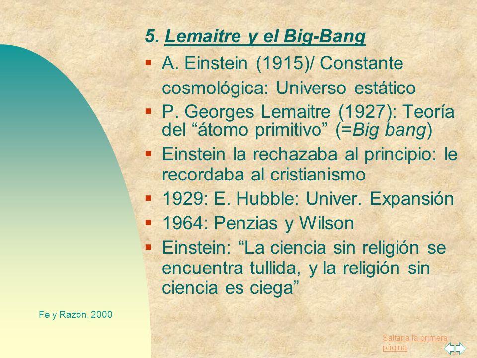 A. Einstein (1915)/ Constante cosmológica: Universo estático