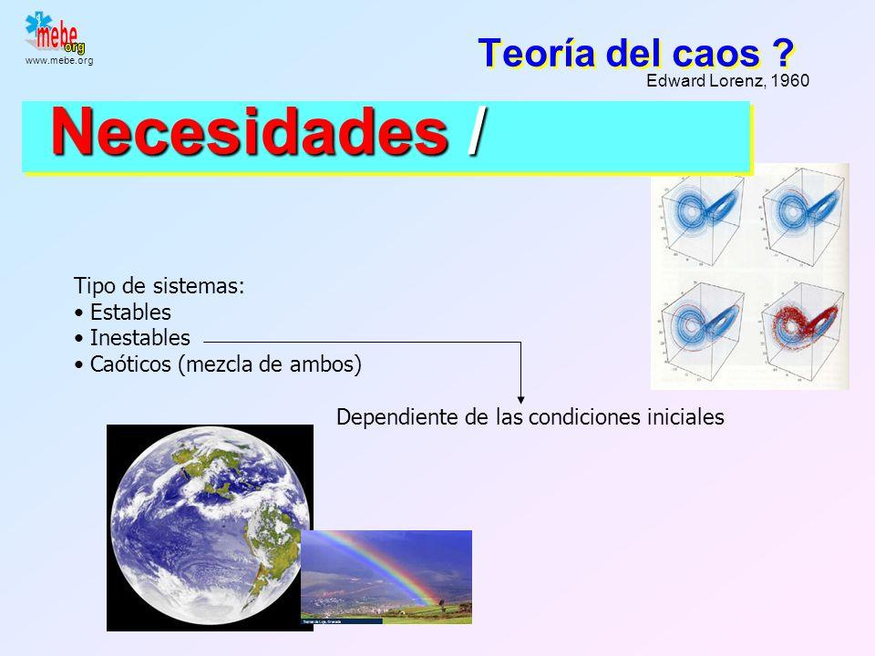 Necesidades / Teoría del caos Tipo de sistemas: Estables Inestables