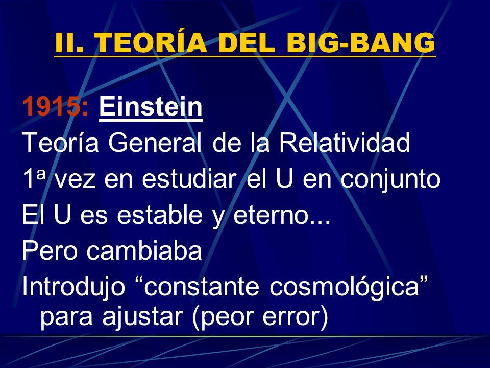 II. TEORÍA DEL BIG-BANG1915: Einstein. Teoría General de la Relatividad. 1a vez en estudiar el U en conjunto.