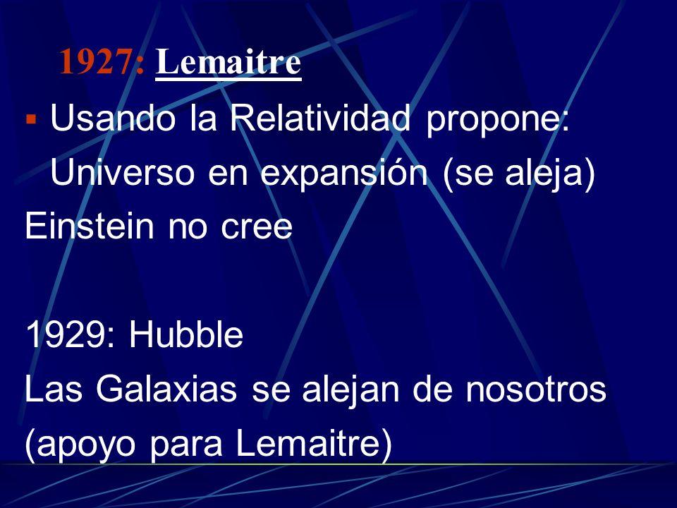 1927: LemaitreUsando la Relatividad propone: Universo en expansión (se aleja) Einstein no cree. 1929: Hubble.