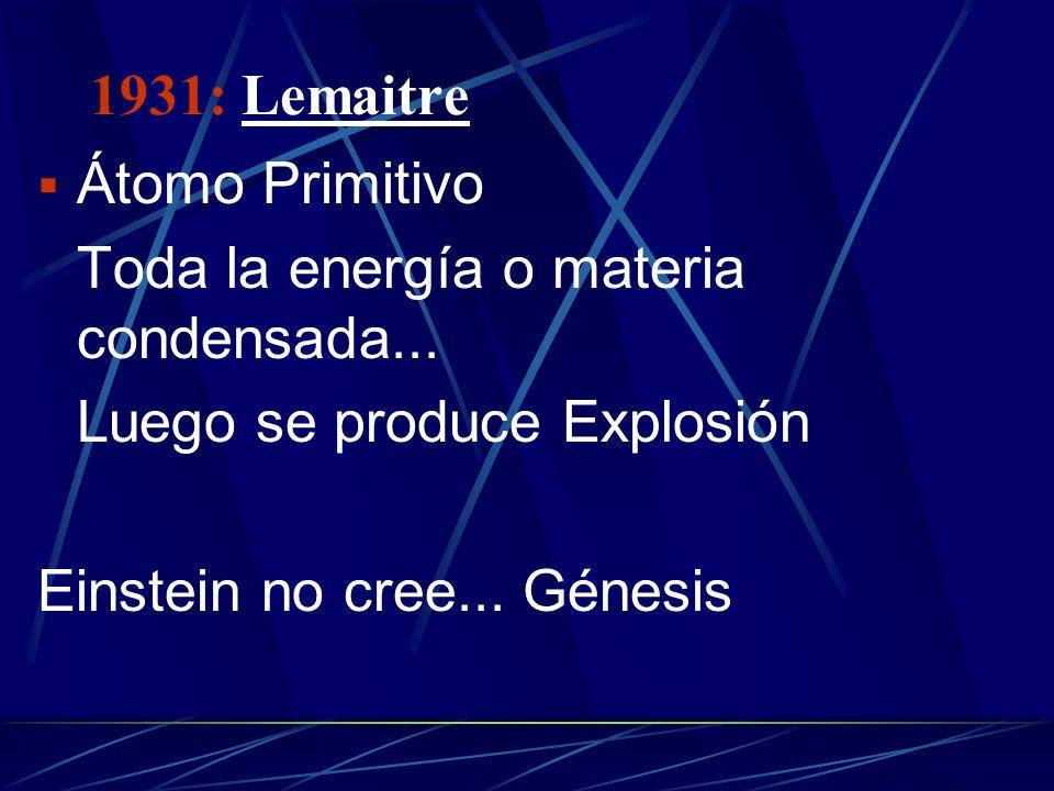 1931: Lemaitre Átomo Primitivo. Toda la energía o materia condensada... Luego se produce Explosión.
