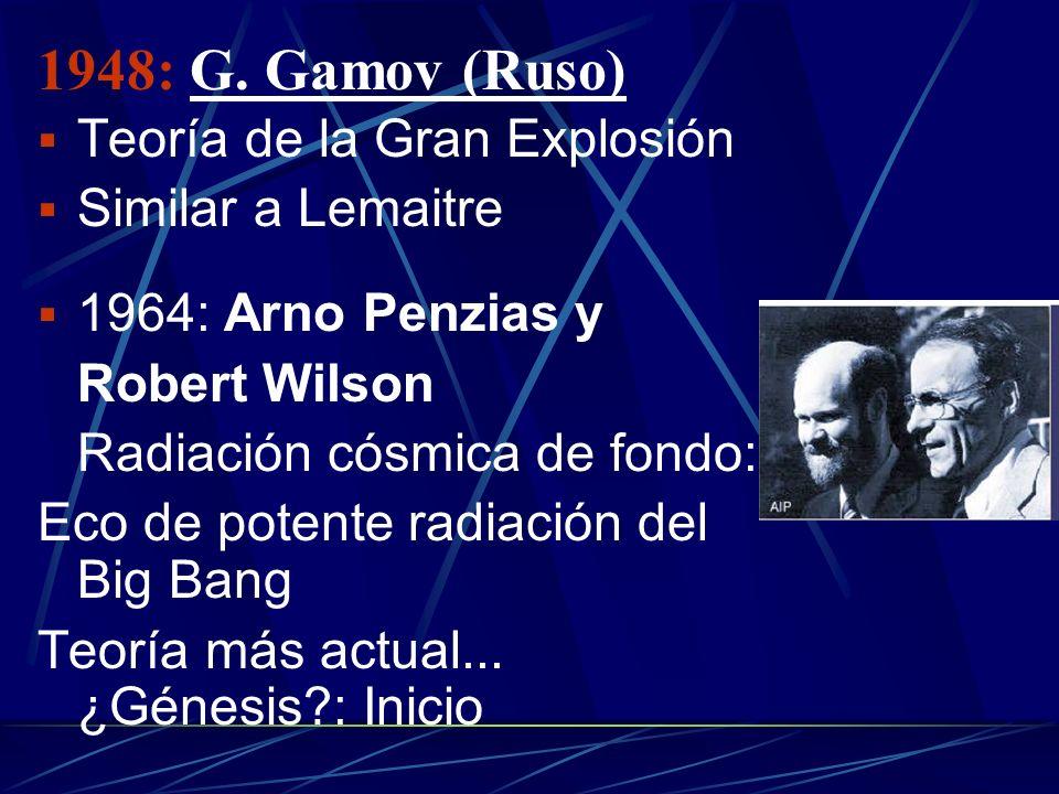 1948: G. Gamov (Ruso) Teoría de la Gran Explosión Similar a Lemaitre