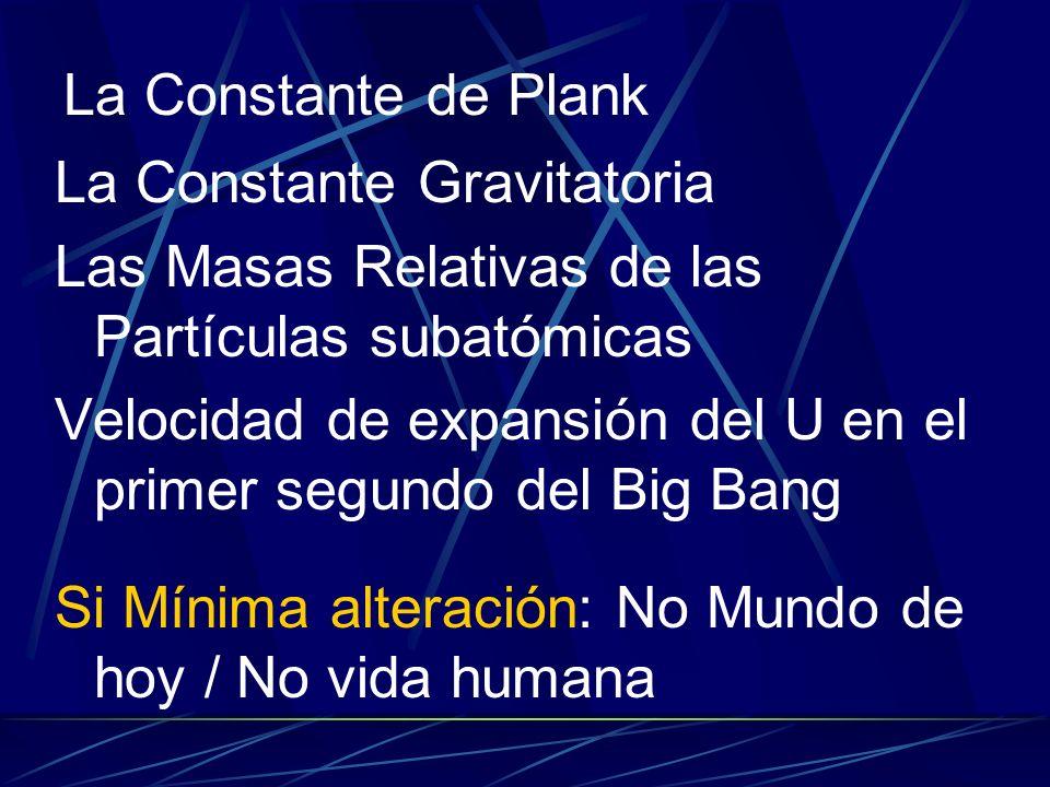 La Constante de Plank La Constante Gravitatoria. Las Masas Relativas de las Partículas subatómicas.