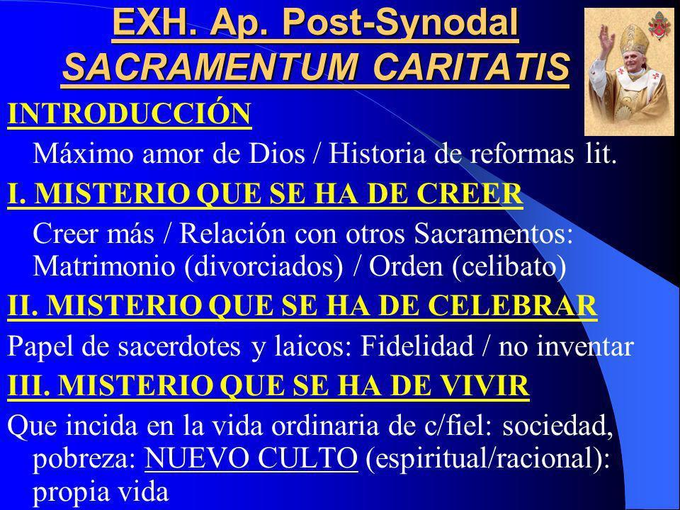 EXH. Ap. Post-Synodal SACRAMENTUM CARITATIS