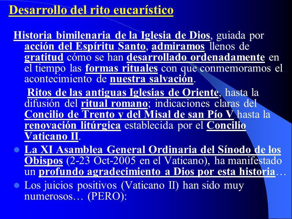 Desarrollo del rito eucarístico