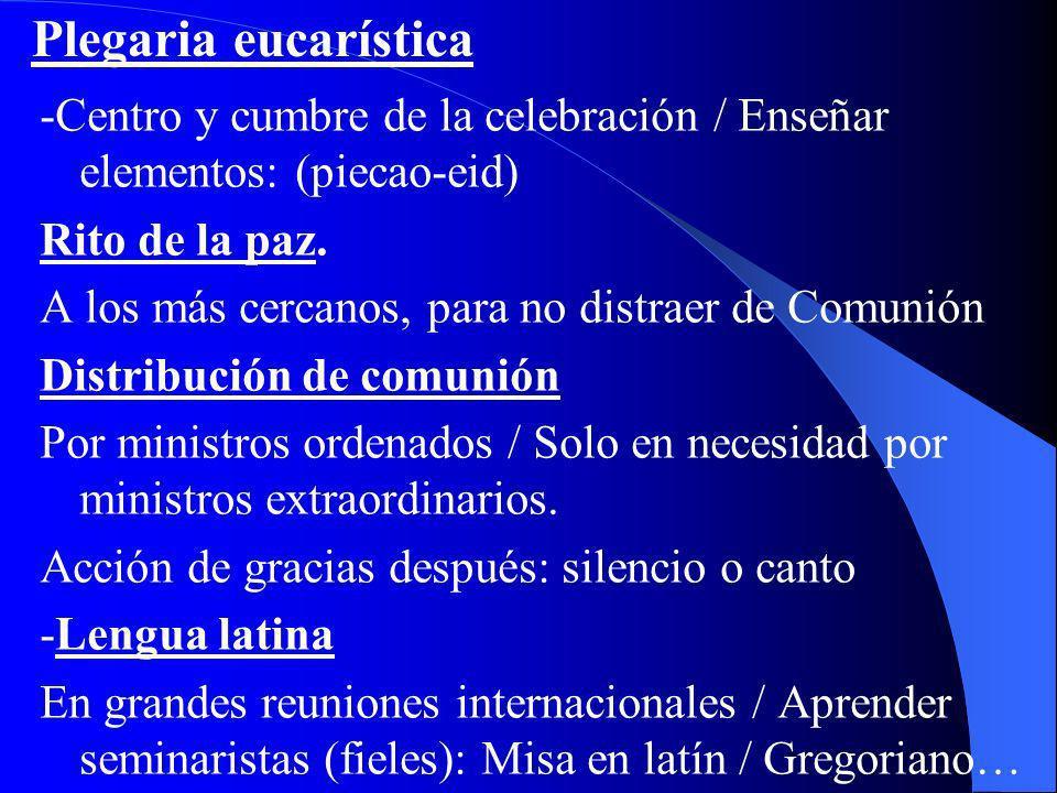 Plegaria eucarística -Centro y cumbre de la celebración / Enseñar elementos: (piecao-eid) Rito de la paz.