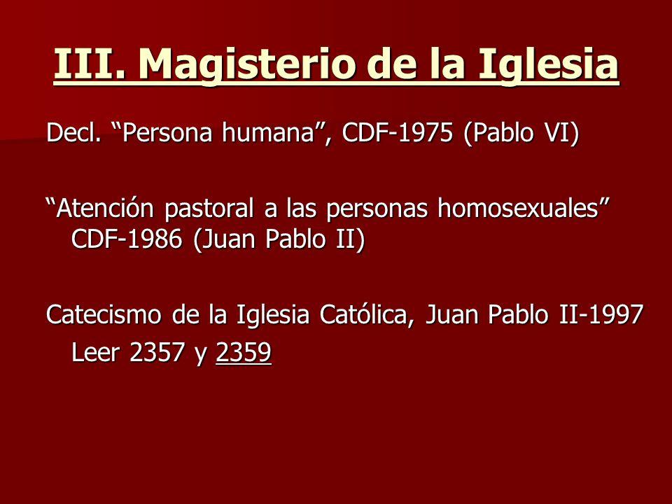 III. Magisterio de la Iglesia