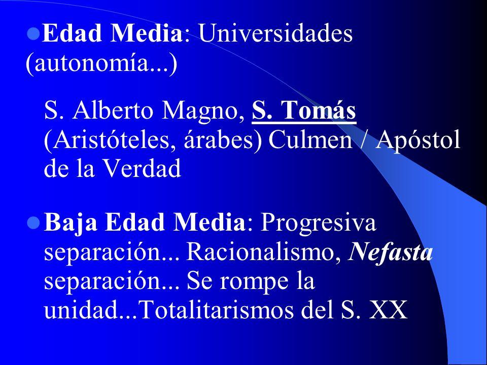 Edad Media: Universidades (autonomía...)
