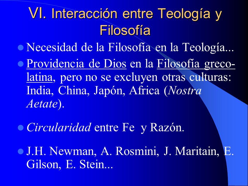VI. Interacción entre Teología y Filosofía