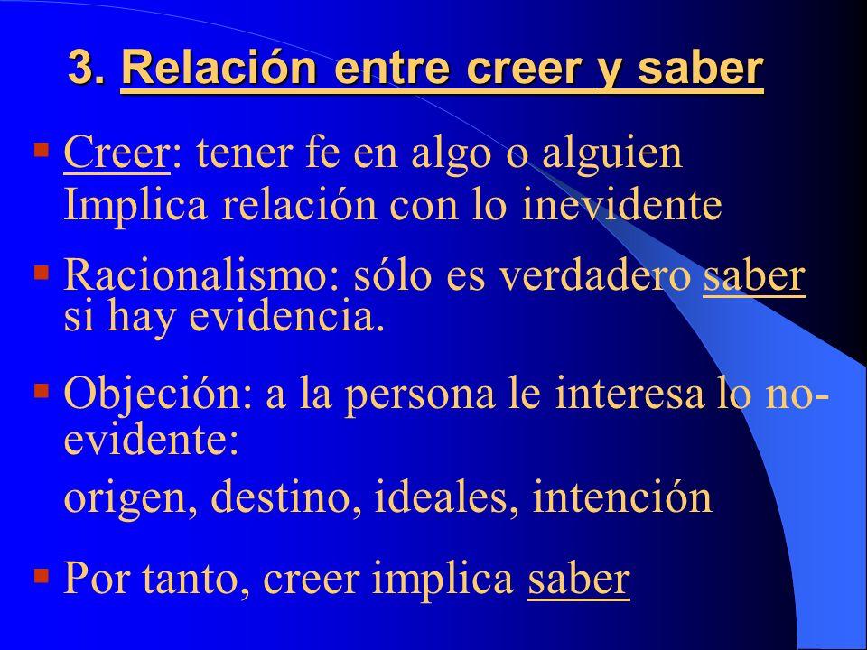 3. Relación entre creer y saber