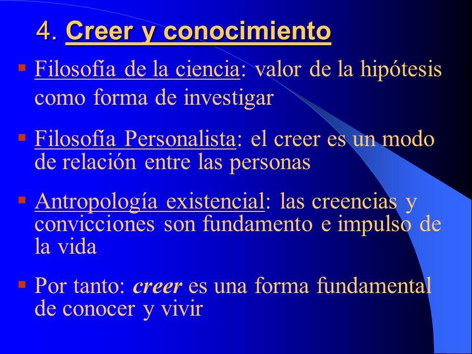 4. Creer y conocimiento Filosofía de la ciencia: valor de la hipótesis como forma de investigar.