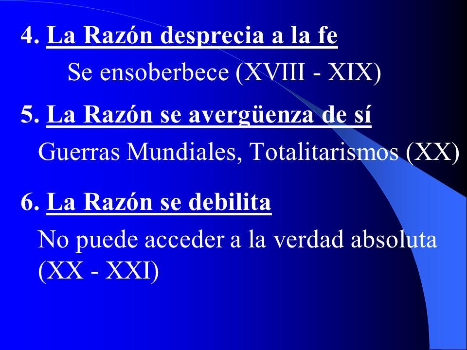4. La Razón desprecia a la fe