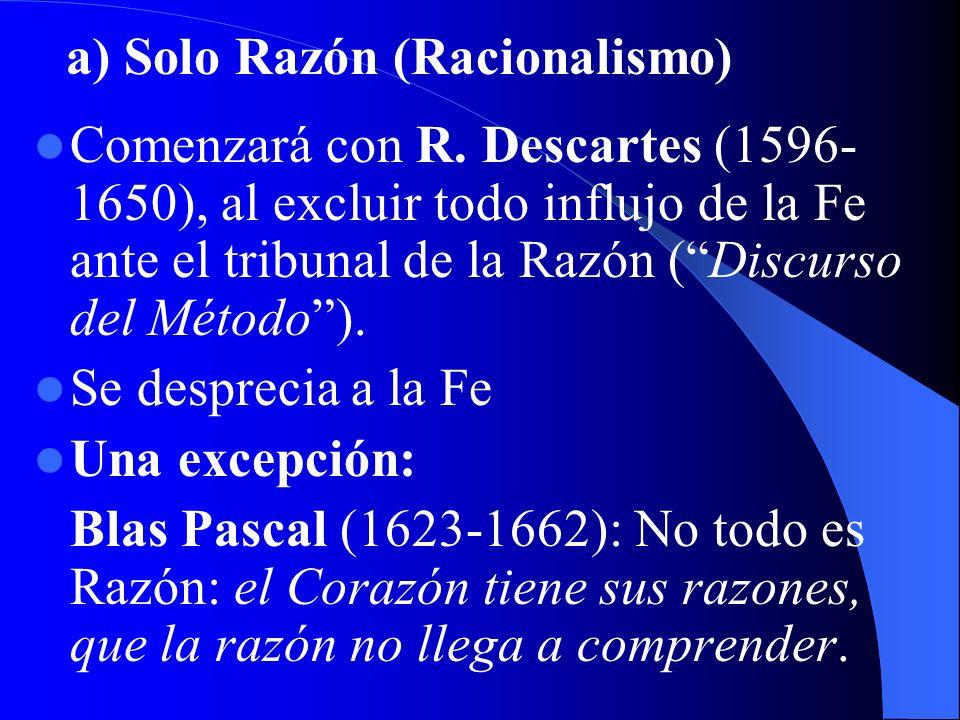 a) Solo Razón (Racionalismo)