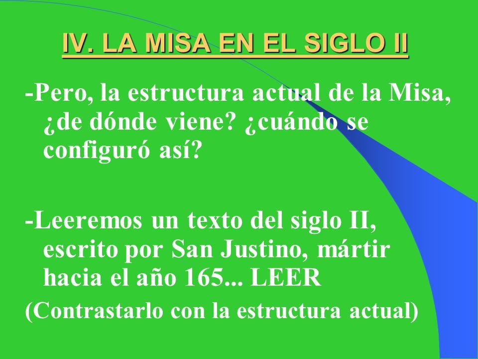 IV. LA MISA EN EL SIGLO II -Pero, la estructura actual de la Misa, ¿de dónde viene ¿cuándo se configuró así