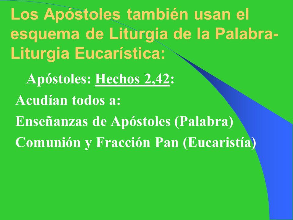 Los Apóstoles también usan el esquema de Liturgia de la Palabra-Liturgia Eucarística: