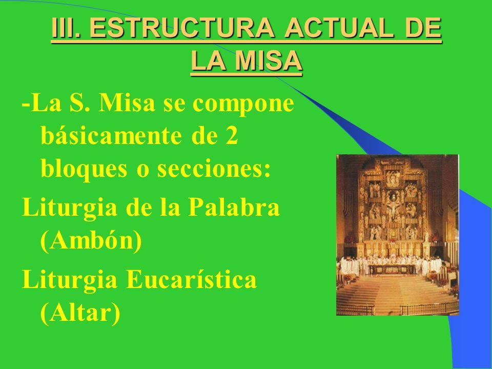 III. ESTRUCTURA ACTUAL DE LA MISA