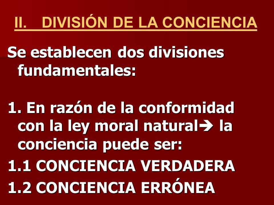 II. DIVISIÓN DE LA CONCIENCIA