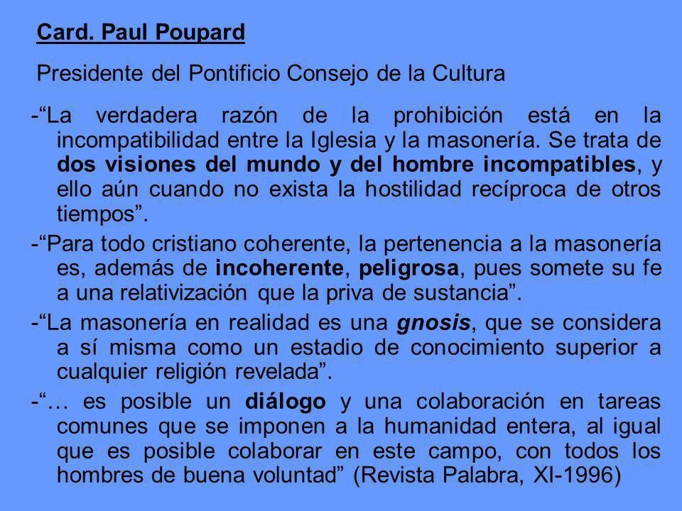 Card. Paul Poupard Presidente del Pontificio Consejo de la Cultura.