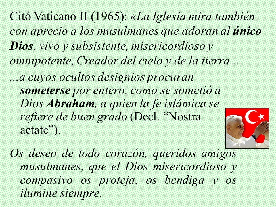 Citó Vaticano II (1965): «La Iglesia mira también con aprecio a los musulmanes que adoran al único Dios, vivo y subsistente, misericordioso y omnipotente, Creador del cielo y de la tierra...