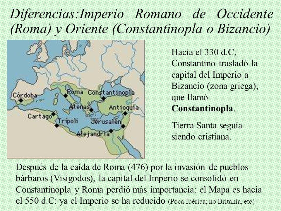 Diferencias:Imperio Romano de Occidente (Roma) y Oriente (Constantinopla o Bizancio)