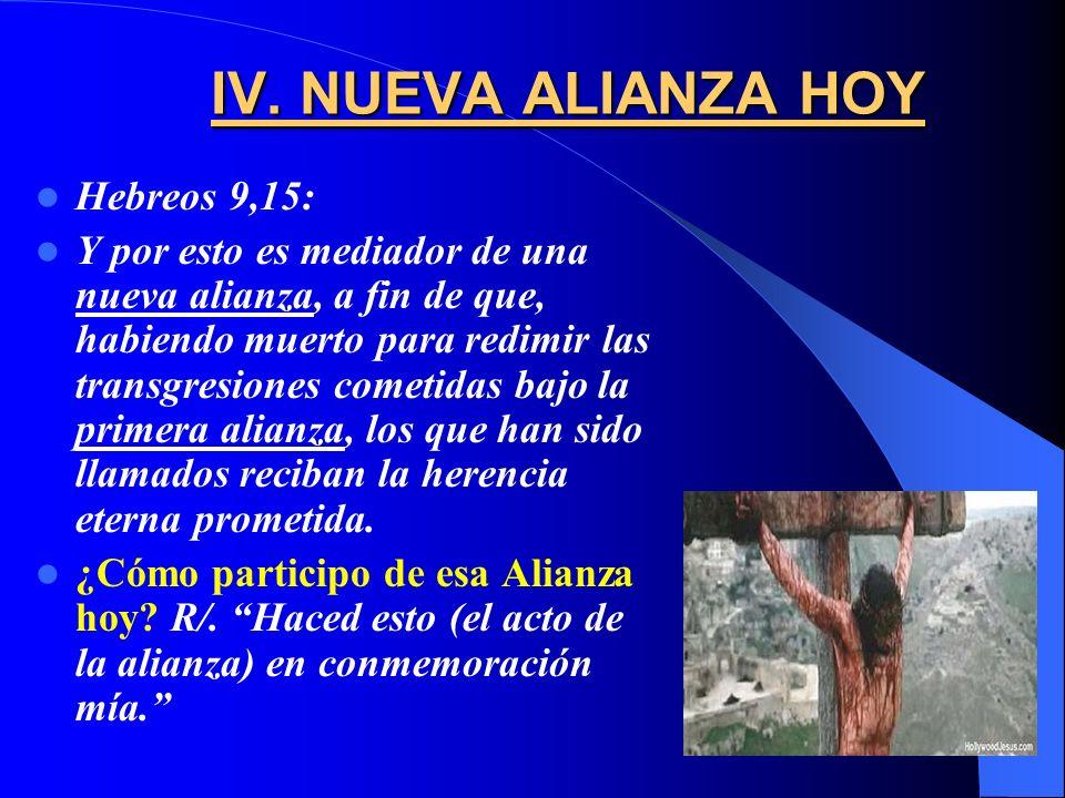 IV. NUEVA ALIANZA HOY Hebreos 9,15: