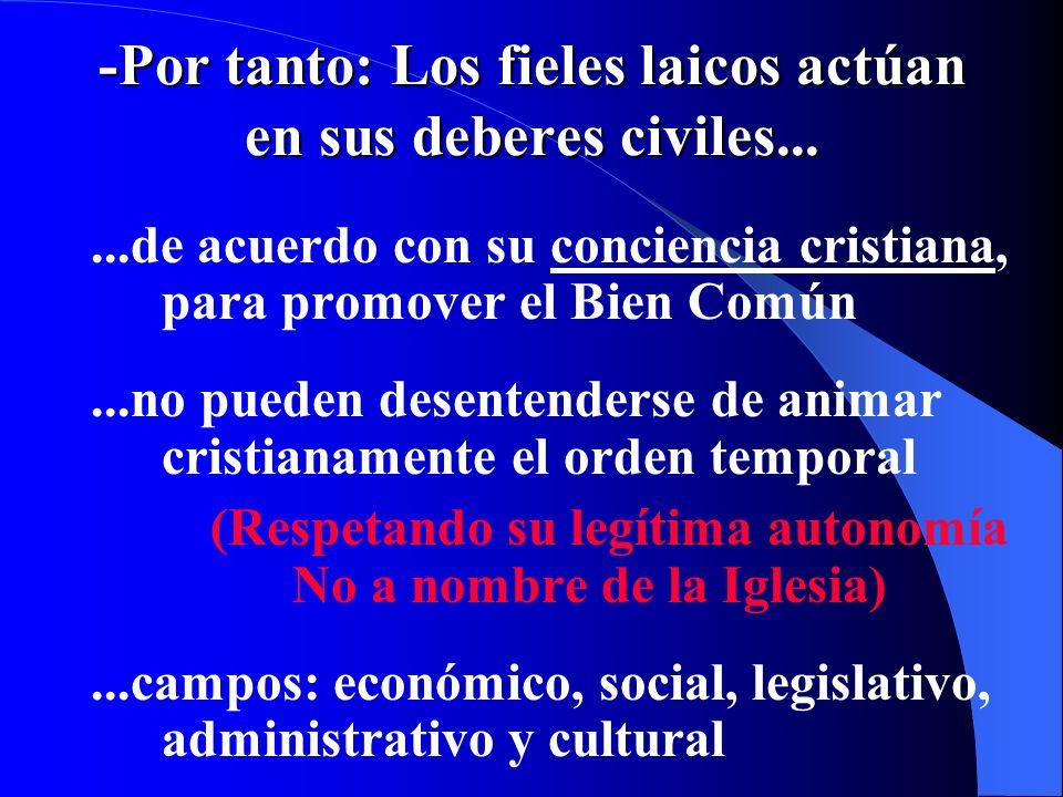 -Por tanto: Los fieles laicos actúan en sus deberes civiles...