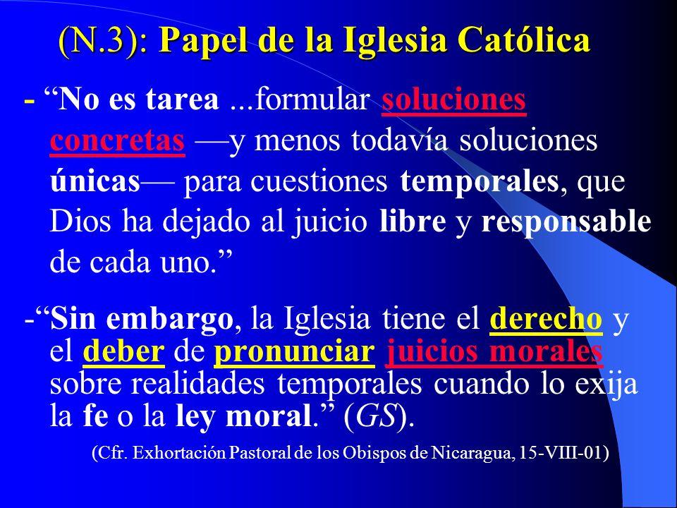 (N.3): Papel de la Iglesia Católica