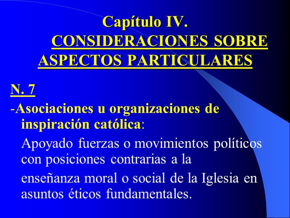 Capítulo IV. CONSIDERACIONES SOBRE ASPECTOS PARTICULARES