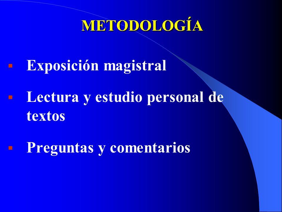 METODOLOGÍA Exposición magistral Lectura y estudio personal de textos Preguntas y comentarios