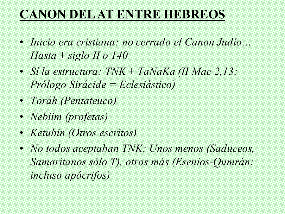 CANON DEL AT ENTRE HEBREOS