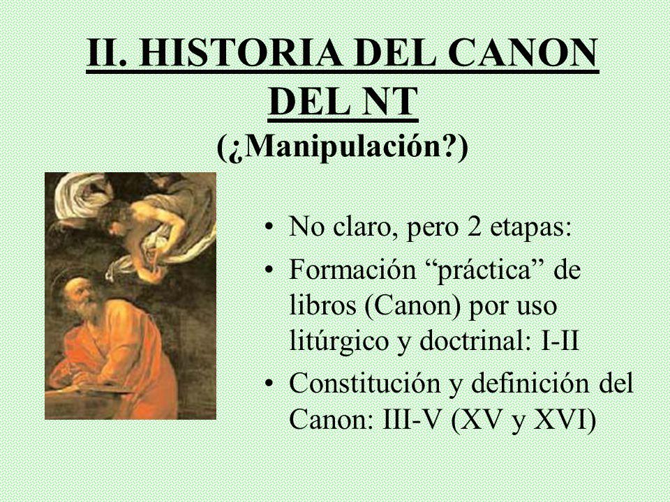 II. HISTORIA DEL CANON DEL NT (¿Manipulación )