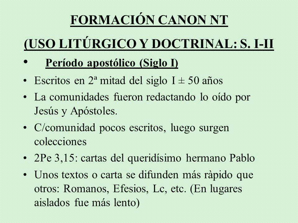 (USO LITÚRGICO Y DOCTRINAL: S. I-II