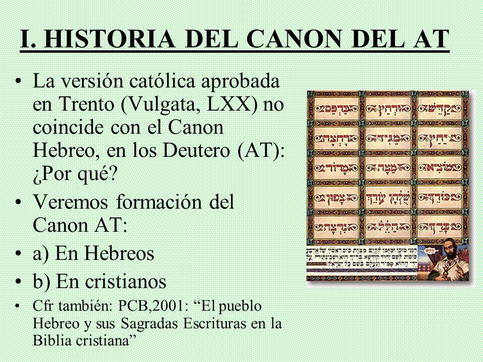 I. HISTORIA DEL CANON DEL AT
