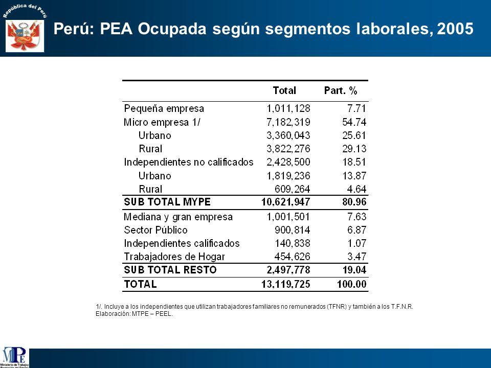 Perú: PEA Ocupada según segmentos laborales, 2005