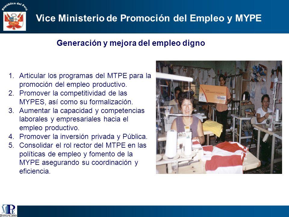 Generación y mejora del empleo digno