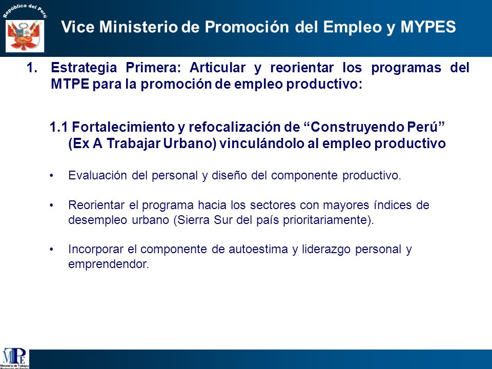 Vice Ministerio de Promoción del Empleo y MYPES