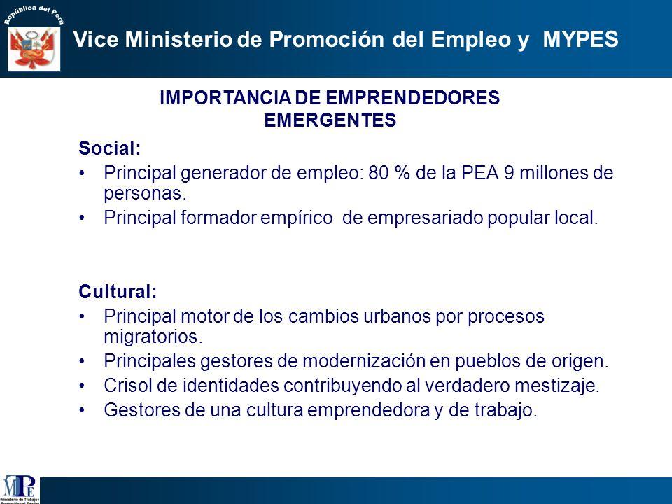 IMPORTANCIA DE EMPRENDEDORES EMERGENTES