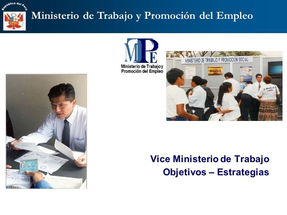 Vice Ministerio de Trabajo Objetivos – Estrategias