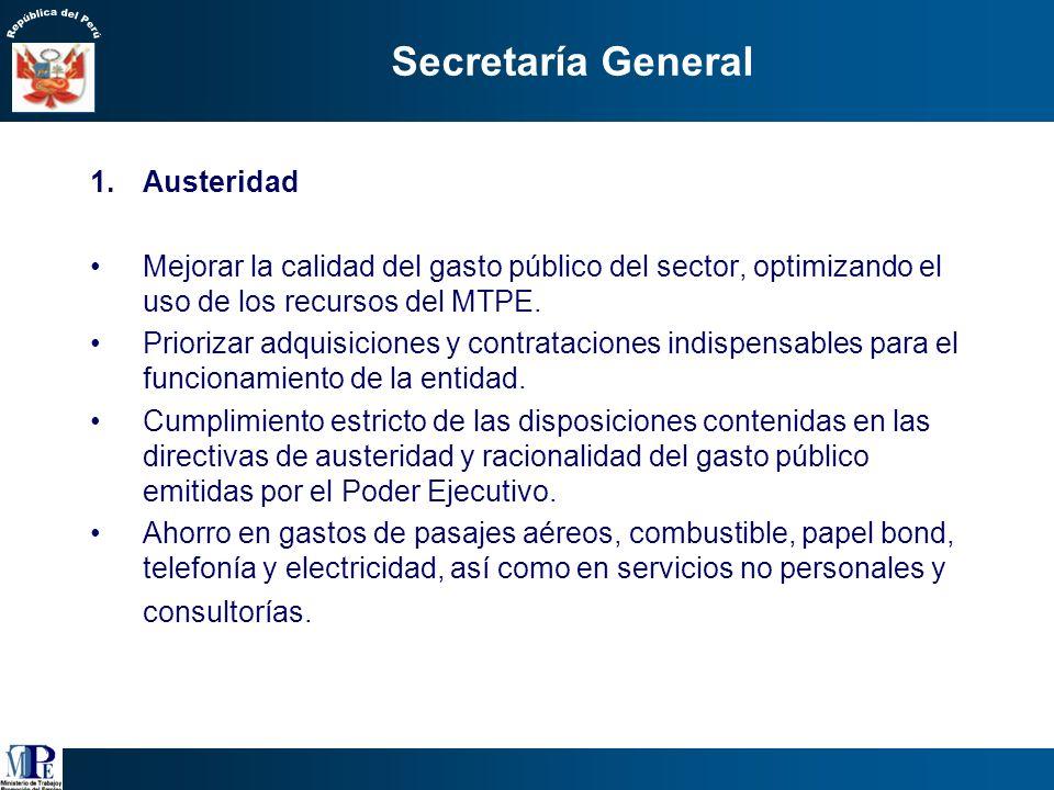 Secretaría General Austeridad