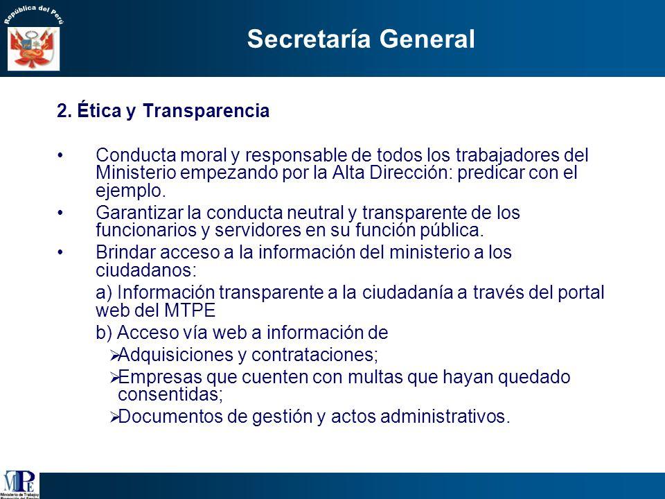 Secretaría General 2. Ética y Transparencia